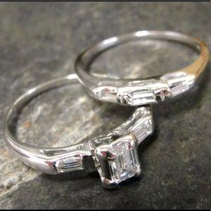 💎💎💎14K EMERALD CUT DIAMOND RING SIZE 6.25
